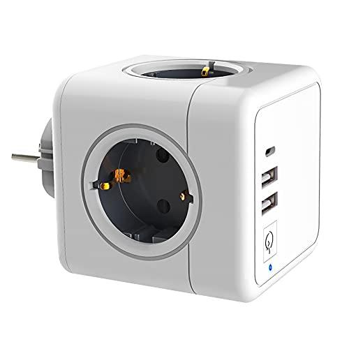 Xisunred USB Steckdose Steckdosenwürfel, Steckdosenadapter 4 Fach mit 2 USB Stecker und 1 Steckdose Type C Port, 7 in 1 Cube Steckdosen mit Schalter, kompatibel für Büro, Zuhause, Reisen