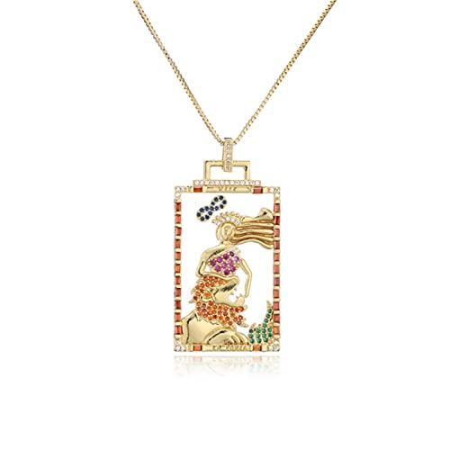SONGK Vintage Estilo Bohemio Pintura Colgante geométrico Collar para Mujeres Hombres Moda CZ Hip Hop joyería Fiesta Regalo