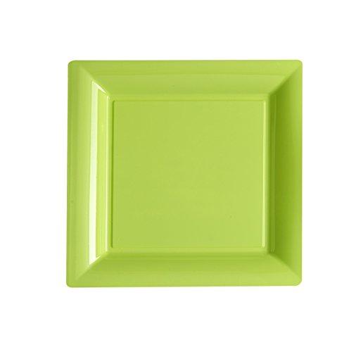 Ma Vaisselle Jetable - Assiette Carree Couleur Vert Anis Diametre 180