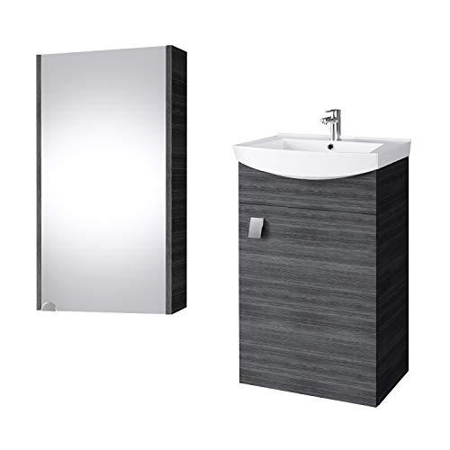 Planetmöbel Badmöbel Set Waschtisch + Waschbecken + Spiegelschrank Gäste Bad WC (Anthrazit)