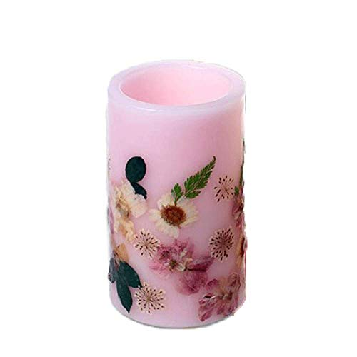 Ironwood Banana Scent LED Flameless Candles with Timer Tealight Candles Flickering Warm White Electric Fake Candle Best Gift Set for Women Home Decor Wedding Decorations 3 x 6?? (Pink)
