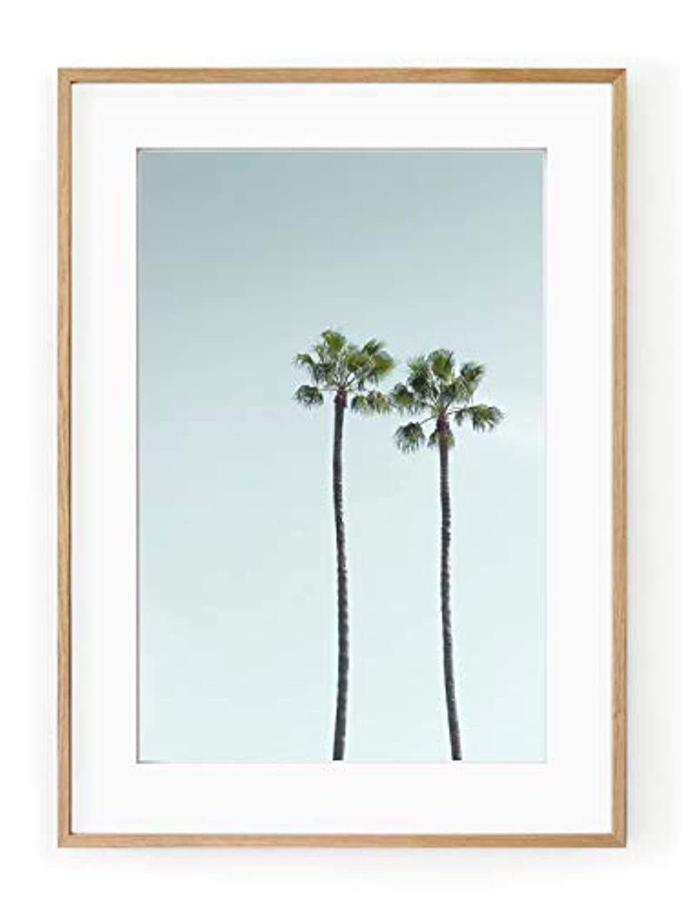 Los Angeles Palm Trees, Black Satin Aluminium Frame, with Mount, Multicolored, 30x40