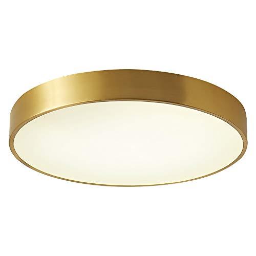 LED Deckenlampe Modern Ultradünne Schlafzimmer Deckenleuchte Messing Gold Rund Dimmable Mit Fernbedienung Metall Acryl Lampenschirm Wohnzimmer Balkon Korridor Badezimmer Beleuchtung,Ø30cm+18w