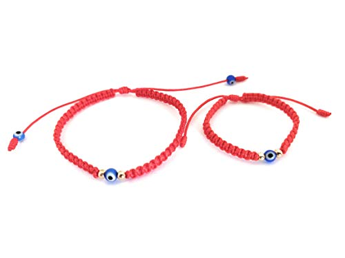 Lucky Charms USA Mommy and Me Red String Evil Eye Protection Bracelet with Gold Beads and Glass Evil Eye Nazar, Mal De Ojo, Set of 2