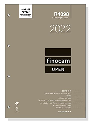 Finocam – Annual replacement 2022 1 day page, from January 2022 to December 2022 (12 months) 4000 – 210 x 297 mm Open Spanish