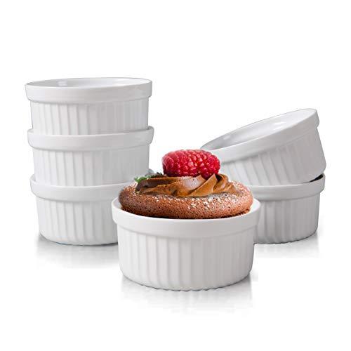 Yachi White Souffle Ramekins: 4oz 6 Pieces Ceramic Baking Ramekin Set Oven Safe Stoneware Bakeware Serving for Sauces Dipping | Onion Soup | Lava Cake | Flan | Creme Brulee | Pudding | Mini Custard