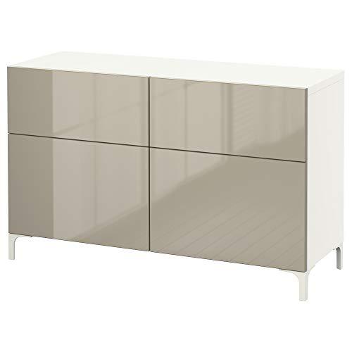 BESTå Kommode mit Türen / Schubladen 120x40x74 cm weiß/Selsviken hochglänzend/beige