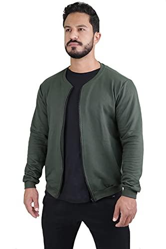 Jaqueta Bomber Masculina Swag Ziper Moleton (Verde escuro, XGG)