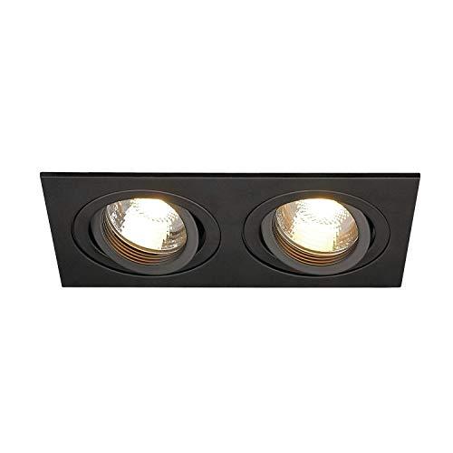 SLV Deckeneinbauleuchte NEW TRIA 2 / Spot, Fluter, Deckenstrahler, Deckenleuchte, Einbau-Leuchte LED, Innen-Beleuchtung / GU10 50.0W schwarz
