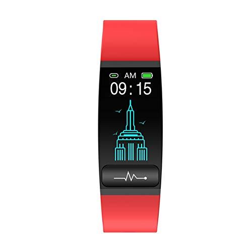 YONGLI Smart Watch Band Temperatura Mida CORAZÓN CORAZÓN Presión Arterial Monitor Tiempo Sedentaria Recordar a Los Hombres Mujeres Android iOS (Color : Red)