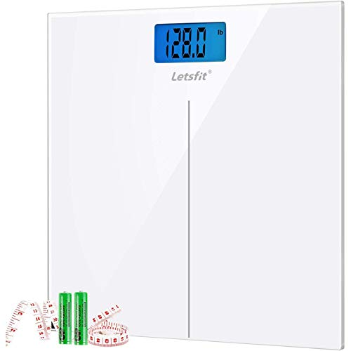 Letsfit Digital Body Weight Scale, Bathroom Scale with Large Backlit Display, Step-On Technology, Ultra Slim Design
