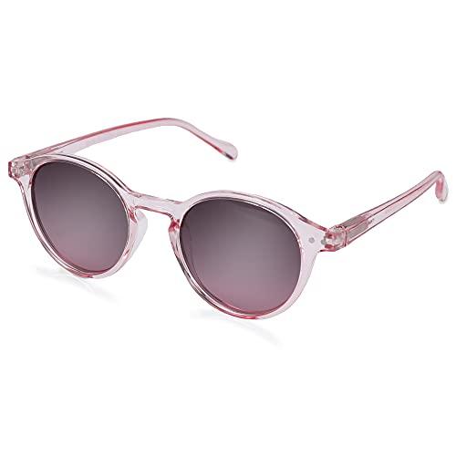 ZENOTTIC Gafas de sol Polarizadas Redondo Retrospectivo Clásico Retrospectivo Lentes de sol Marco UV400 Para hombres y mujeres (cristal + rosa)