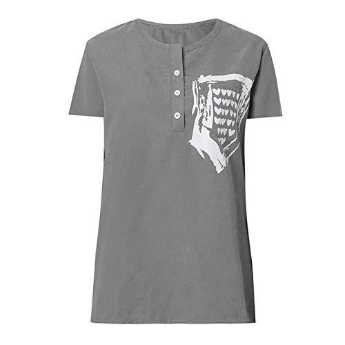 SLYZ 2021 Verano Mujer Cuello Redondo Casual Camiseta Suelta De Manga Corta Botón Camiseta De Manga Corta para Mujer