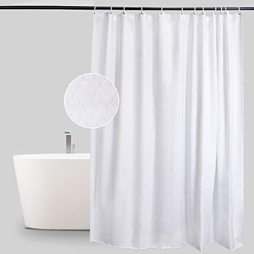Anjee Waffel Shower Curtains Wasserabweisender Schimmelfester Widerstandsfähiger Duschvorhang, mit verstärktem Saum, Weiß 180 x 180 cm