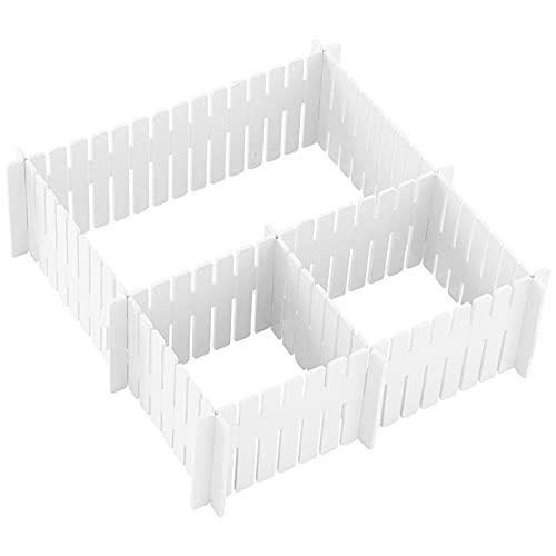 feihao DIY Schubladen-Organizer,Schubladeneinteiler ,Verstellbare Schreibtisch Organizer Kunststoff, 20er-Set Schubladeneinsatz Kosmetik für Unterwäsche BH Socken Höschen, Polyester