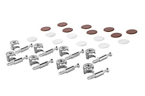 Gedotec Möbelverbinder Exzenter Schrank-Verbinder MINIFIX 15 mm | Abdeckkappen braun & weiß | Verbinder für Bohrloch Ø 5 mm | Komplett-Set - MADE IN GERMANY | Möbelbeschläge | 1 Set