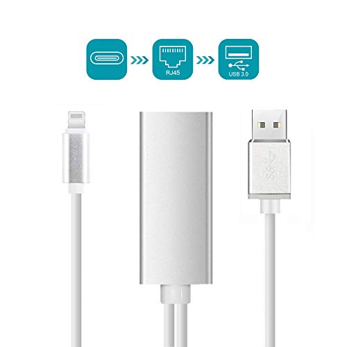Cable Adaptador de Red Ethernet RJ45 para Phone / iPad, Adaptador Ethernet de Alta Velocidad Compatible con 10 / 100 / 1000 Mbps, Requiere iOS 12.0 o Superior [Versión Actualizada]