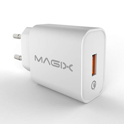 Magix S-TR-151QE Cargador de Pared Quick Charge 3.0 18W 3A, AC 100-240V a DC 6V 9V 12V (Qc 1.0 2.0 Compatible) (Blanco)