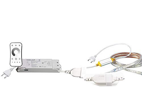 Ogeled 1-50m Neon LED Strip Warmweiß Neutralweiß Kaltweiß ohne Lichtpunkte Wasserfest Innen/Außen 230V Dimmbar (Zubehör, mit 1 Dimmer zu 1)