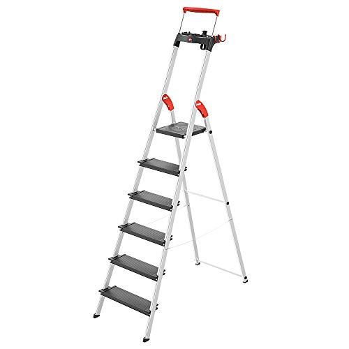 Hailo 0850-627 L100 Pro, 6-Ft Folding Lightweight Aluminum Step Platform Ladder, Black