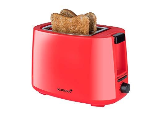 Korona 21132 Toaster in rot - 2 Scheiben Toaster 750 Watt mit Brötchenaufsatz sowie einer Auftau- und Aufwärmstufe