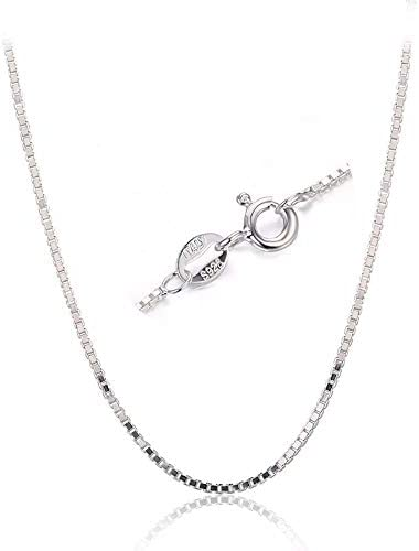 BQfife 925 Sterling Silver Designer Chain 0 8MM Delicate Italian Box Chain Super Thin Strong product image