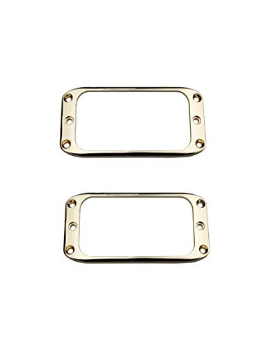Guyker 2Pcs Pickup Mounting Rings for Humbucker – Metal Pickups Cover Frame Set Replacement Round Edges for Electric Guitar or Bass (Golden)