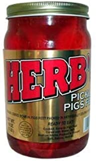 Herb's Pickled Pigs Feet 16 oz quart size container