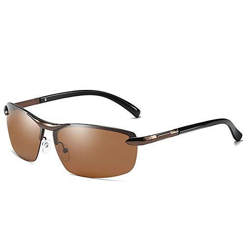 KDOAE Gafas de Sol Deportivas polarizada Metal del Medio capítulo de Color Gafas de Sol Colgantes antideslumbrante Vidrios polarizados Hombres Mujeres (Color : Brown, Size : One Size)