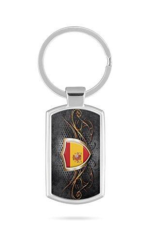Schlüsselanhänger mit Gravur Wunschtext Name Spanien Fahne 3