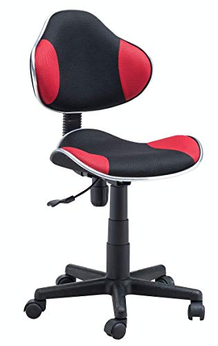 Home Office Low Back Computer Executive Chair by JJS, Ergonomic Mesh Chair with Extra Large Base and Pads, Black/Red
