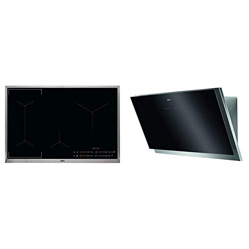 AEG IKE84441XB Autarkes Kochfeld/Herdplatte mit Touchscreen, Topferkennung & Hob²Hood-Funktion / 80 cm & DVB5960HG Kopffreie Wand-Dunstabzugshaube/Abluft oder Umluft / 90cm / Schwarz