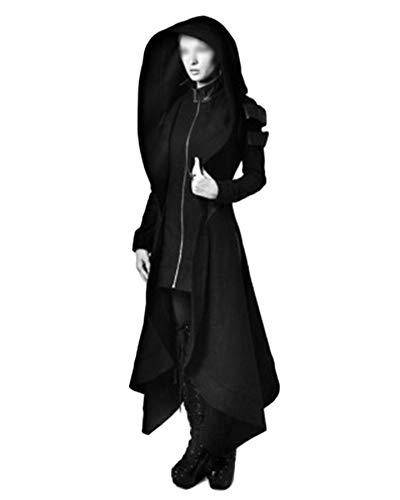 LiangZhu Damen Jacken Mäntel Steampunk Retro Mit Kapuze Trenchcoat Vintage Unregelmäßige Frack Oberbekleidung Gehrock Uniform Schwarz L