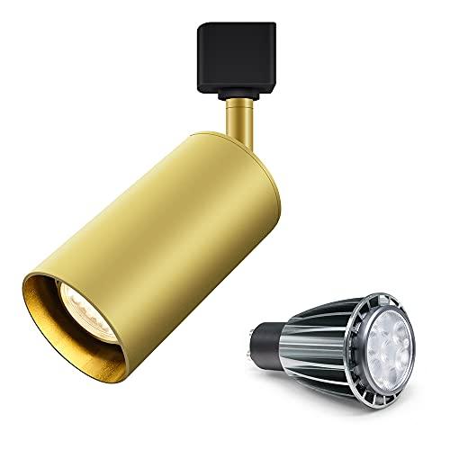 TANGIST 7W LED GU10 Bombilla Superficie Reemplazable Montado LED Downlight Cálido/Frío Blanco Techo Luz del punto para la cocina Pic TV Fondo (Emitting Color : Rail Gold with Bulb)