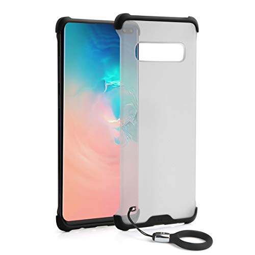 Galaxy S10 Plus Case Clear Matte Hard Back [ Access Edge Panel Easily], Motenik Silicone Bumper Soft Rubber Shockproof Slim Thin Cover with Phone Landyard for Samsung Galaxy S10+