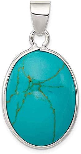 Collar con colgante de turquesa azul ovalado de Plata de Ley 925, joyería fina de piedra natural para mujeres, regalos para ella
