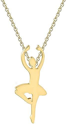 AOAOTOTQ Co.,ltd Collar Mujer Danza Ballet Fitness Patinaje en ángulo Acero Inoxidable Figura de joyería Collar de Yoga Regalo