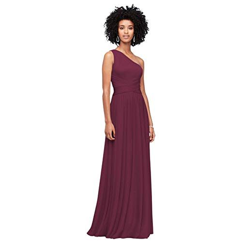 David's Bridal One-Shoulder Mesh Bridesmaid Dress with Full Skirt Style F19932, Wine, 4