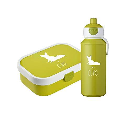 4you Design - Brotdosen Sets für Kinder in Lime, Größe Box: 17,8 cm / 13,2 cm / 6,1 cm; Flasche: 18,4 cm
