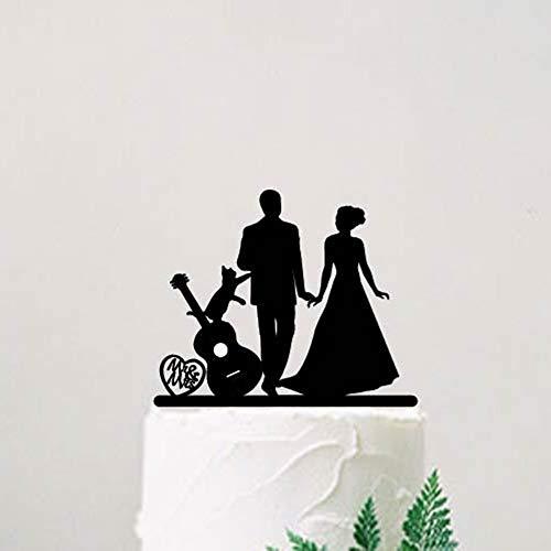 Decoración para tarta de boda, novia y novio con guitarra y gato, silueta decorativa, Mr y Mrs con mascota