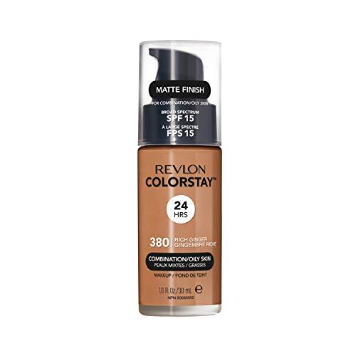 Revlon Colorstay Liquid Foundation Make-up für Mischhaut/fettige Haut LSF 15, Longwear Mittlere vollständige Deckung mit mattem Finish, Rich Ingwer (380), 30 ml
