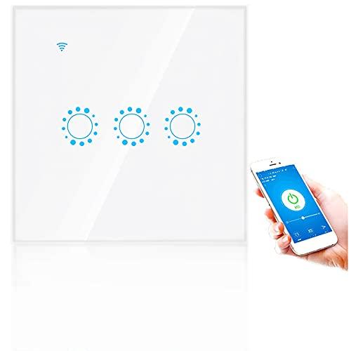 Interruptor táctil inalámbrico WIFI inteligente de 3 vías, interruptores de luz de pared con control remoto de APLICACIÓN de voz, soporte de función de sincronización ALEXA ECHO, G-HOME(blanco)