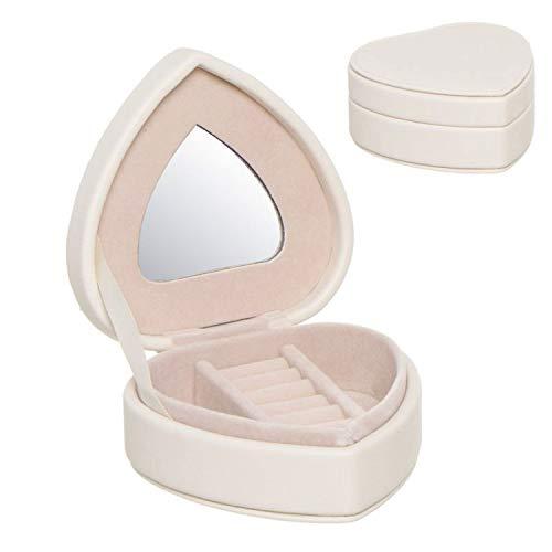 Verre Cadeaux Boîte à Bijoux en Simili Cuir Forme de Coeur Blanc