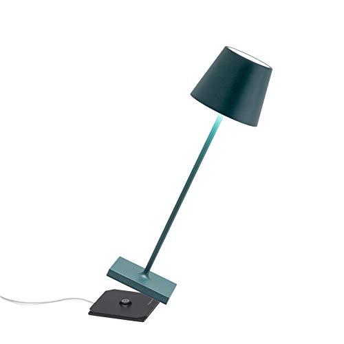 Zafferano Poldina Pro - Dimmbare LED-Tischlampe aus Aluminium, Schutzart IP54, Verwendung im Innen-/Außenbereich, Kontaktladestation, H38cm, EU-Stecker (Dunkelgrün), LD0340M3