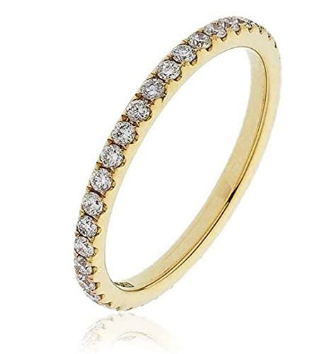 Anello Eternity completo in oro giallo 18k con diamante rotondo da 0,50 ct, Diamante, diamante,