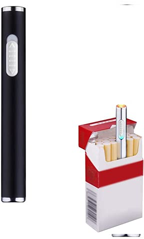Pantheraa Pantheraa Mini USB Feuerzeuge Wiederaufladbar Winddicht Flammenlose Elektronische Plamsa Feuerzeug Tragbar, Schwarz Schwarz