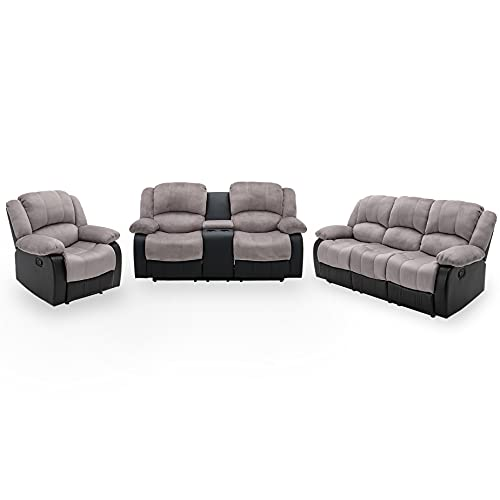 Nathaniel Home 3 Pieces PU Leather Sofa Set with Cup Holder Footrest Comfortable Family Recliner for Living Room Bedroom Home Theater Seating, Gray