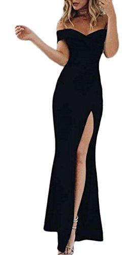 JackenLOVE Sommer Damen Kleid Brautjungfernkleid Mit Seiten Schlitz Split Einfarbig Maxikleid Partykleid Cocktailkleid Abendkleider Sexy...