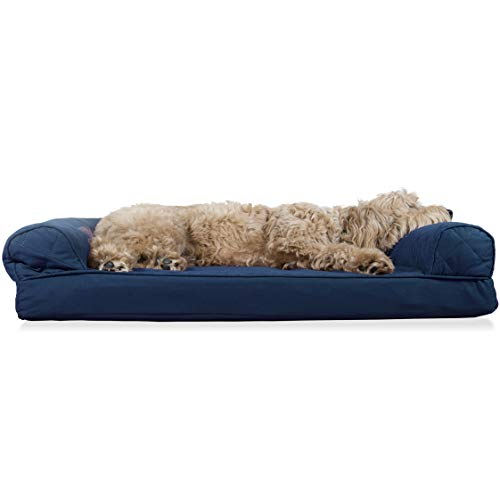 Furhaven Pet Dog Bed | Orthopedic Quilted Traditional Sofa-Style Living Room Couch Pet Bed w/ Removable Cover for Dogs & Cats, Navy, Large