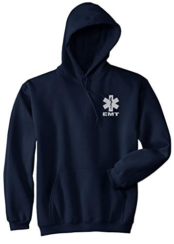 Smart People Clothing EMT Hoody, Reflective Logo Soft Fabric, Medical Emergency, First Responder (Navy, X-Large)